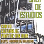 Cartel nueva apertura sala estudios Centro Cultural Playa