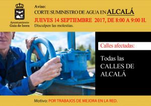Cartel FB - Corte de agua Alcalá 14 de septiembre