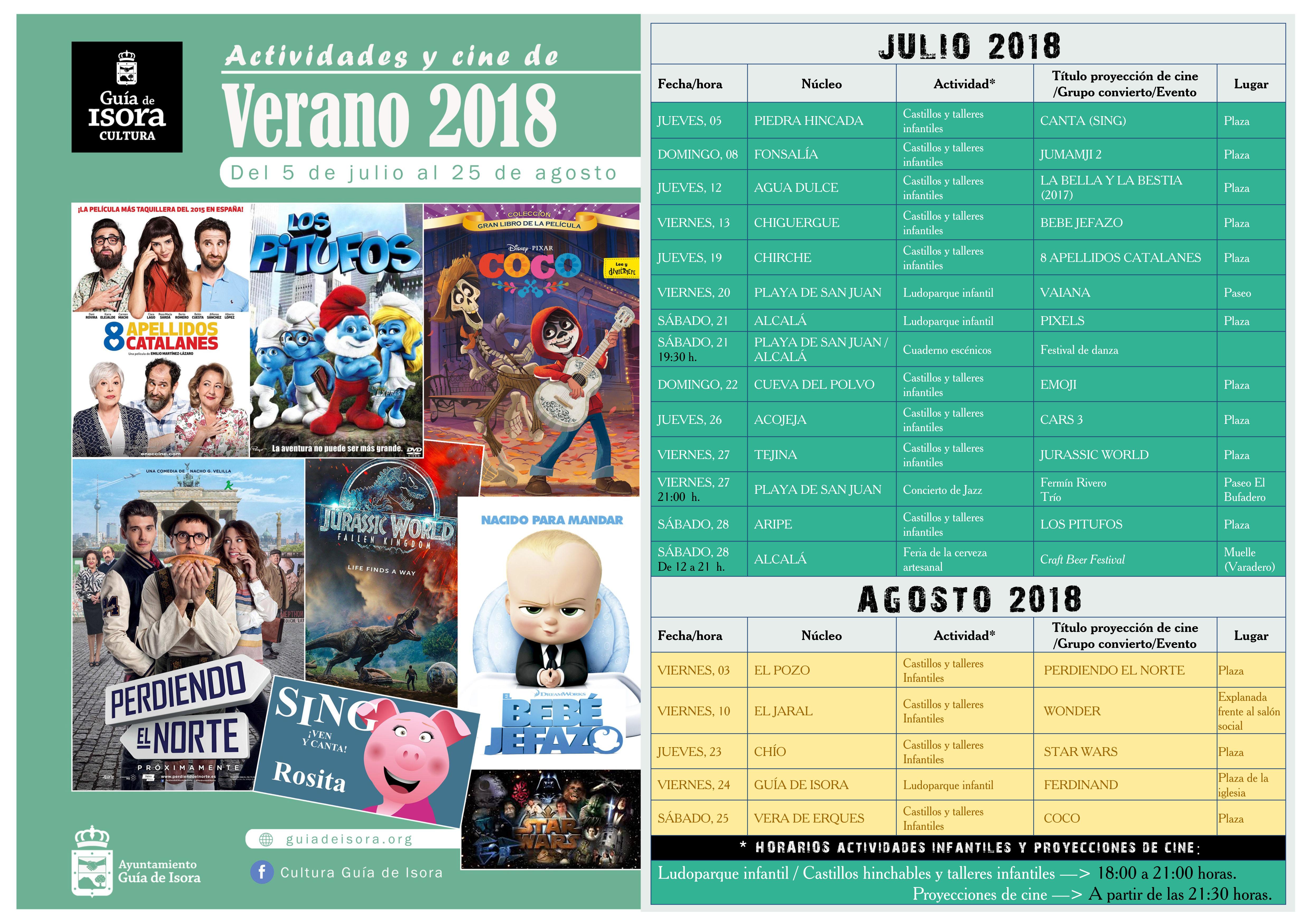 Cartel A3 - ACTIVIDADES Y CINE DE VERANO 2018 con texto