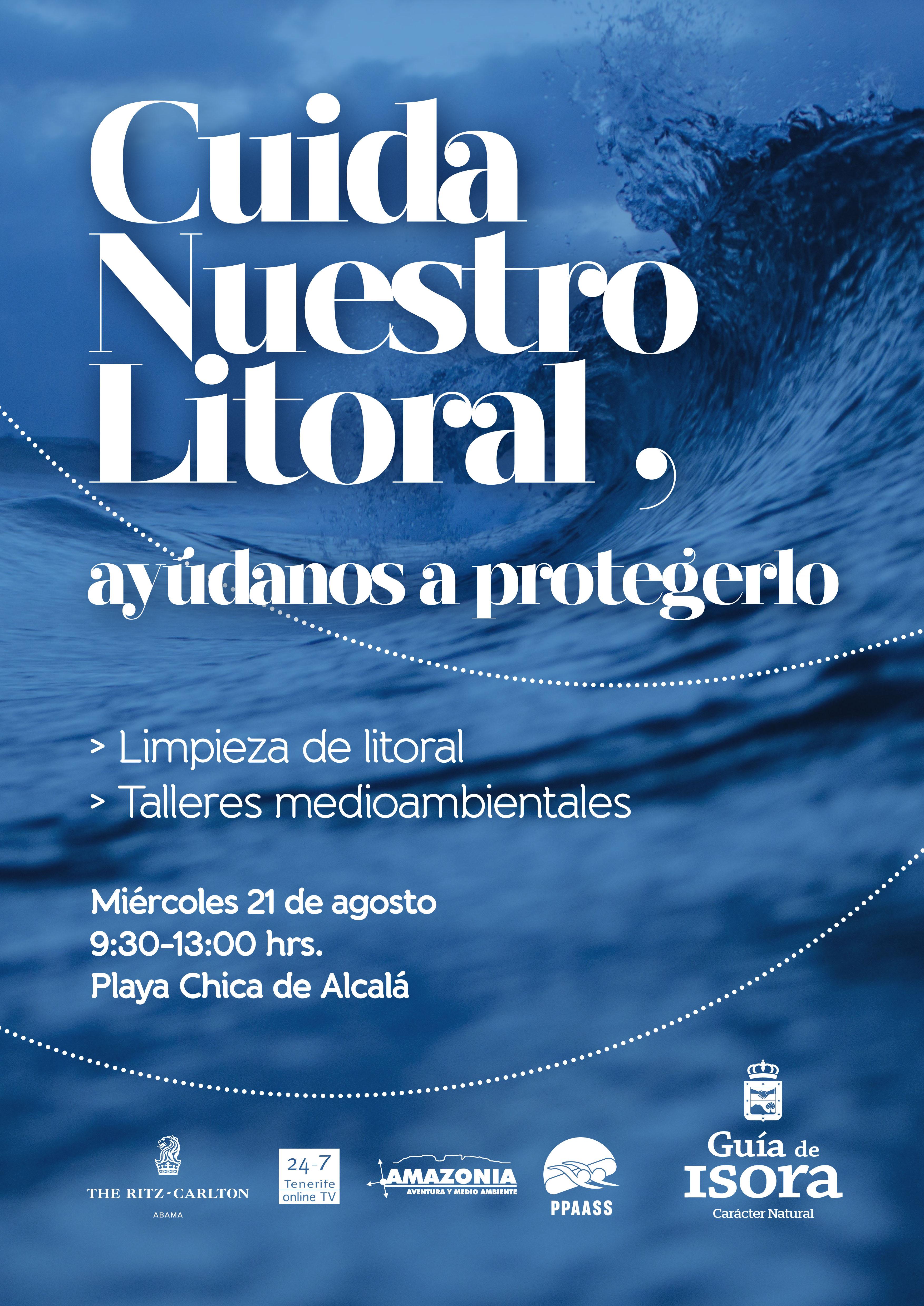 Cartel limpieza costera Alcalá 21 agosto
