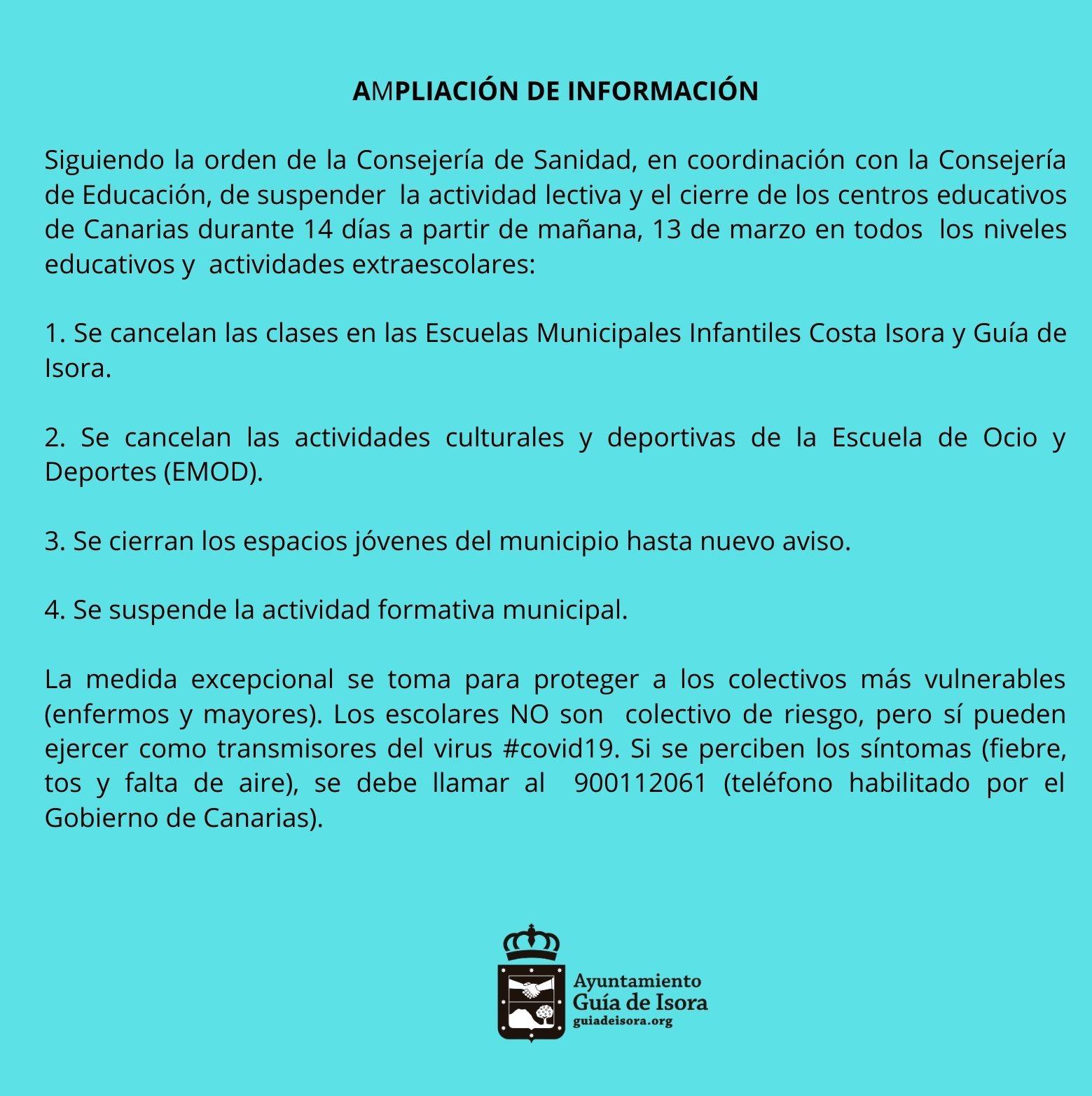 Ampliación De Medidas Para Evitar La Propagación Del Coronavirus Ayuntamiento De Guía De Isora