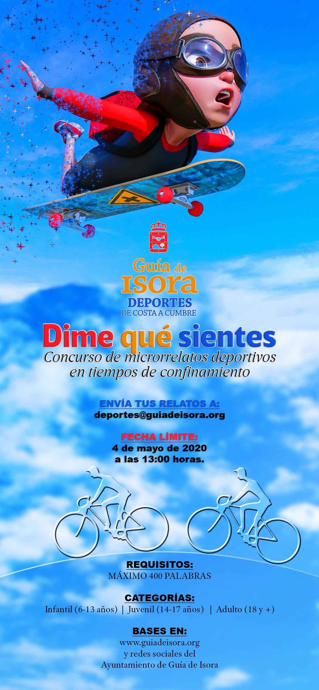 Cartel del Concurso de Microrrelatos deportivos 'Dime qué sientes' en tiempos de confinamiento.
